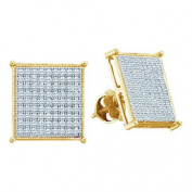 10K Yellow Gold Mens Diamond Earrings Screw Back 1/5cttw 9.5mm Wide Square Shaped Pave