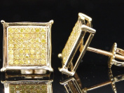 Yellow Diamond Square Earrings 10K Gold Mens Round Cut Pave Studs 0.33 Tcw.