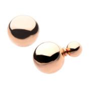 Inox Jewellery SSEDB816RG Double Sided Ball Stainless Steel Stud Earrings, IP Rose Gold