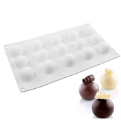 15 Cavities Round Ball Shaped Mini Truffles Mould, Non-Stick Silicone Mat for Chocolate Mould Baking Truffle Dessert Cake Decorating Tools Bakeware Mould Cake Pan Kitchen Baking Supplies - 29.8x17cm