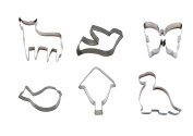 Silicone Gold Animals Set Cutters Biscuit, Aluminium, Silver, 12 x 22 x 3 cm, Pack of 6