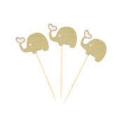 LUOEM Elephant Cupcake Topper Picks 3pcs Animal Cupcake Sign for Birthday Party Cake Decoration