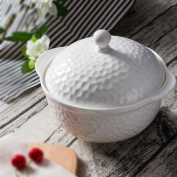 Liuyu Kitchen Home With Cover Soup Basin Pure White Bone China Soup Bowl Soup Pot Tableware Home