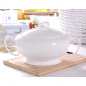 Liuyu Kitchen Home Pure White Bone Chinaware Big Soup Pot Soup Basin With Cover Soup Bowl 3000ml