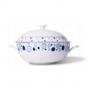 Liuyu Kitchen Home Mediterranean Series Bone Chinaware 23cm Big Soup Pot Soup Basin With Cover Soup Bowl