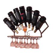 LIXIONG Wall hanging Wine rack 7 Bottles Holder Goblet holder European-style iron Display Shelves, 3 colours