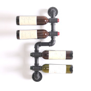 LIXIONG Wall hanging Wine rack Retro water pipes Bottles Holder iron Display Shelves , 7 kinds of styles
