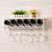 SUBBYE Wine Rack Wine Rack Wall-mounted Wine Bottle Rack Display Stand Modern Upside Down Hanging Goblet Holder Colour Optional