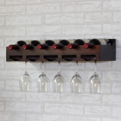 SUBBYE Wine Rack Wine Rack Wall-mounted Solid Wood Wine Bottle Display Stand Goblet Holder Upside Down Wine Cup Holder