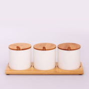 MOMO Cylindrical Ceramic Bamboo Seasoning Cans, Seasoning Bottles Seasoning Boxes, Kitchen Supplies Four Sets