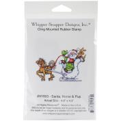 Whipper Snapper Cling Stamp 10cm x 15cm -Santa, Horse & Pup