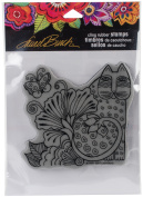 Stampendous Laurel Burch Cling Stamp 17cm x 11cm - Blossoming Feline