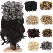 FLORATA Bun Hair Extension Up Do Drawstring Ponytail Short Messy Hair Pieces Chignon Comb Clip Scrunchy Scrunchie-Dimgray