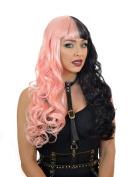 Long Curly Half Pink Half Black Wig with Blunt Fringe | Melanie Martinez inspired Wig