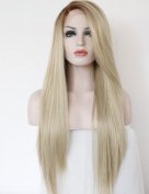 Fantasy Beauty High Temperature Fibre Glueless Long Straight Ombre Brown to Blonde Synthetic Lace Front Wig for White Women