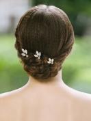 Handcess Gold Rhinestones Wedding Hair Pins Clips Bridal Hair Accessories for Brides and Bridesmaids