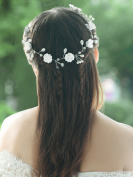 Handcess Wedding Headband Flower Silver Hair Vine Bridal Hair Accessories for Bride and Bridesmaids