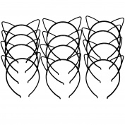 12pcs Plastic Cat Ears Girls Headbands Rabbit Ear Hairbands Bows Headbands Bunny Rabbit Headear Hair Accessory