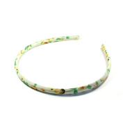 Alice Band Thin Cream with Floral Pattern in Yellow and Green