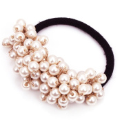 Fostly Imitation Pearl Hair Band Scrunchie Elastic Ponytail Holder Hair Rope Stretch Hairband Hair Accessories