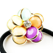 Fostly Colourful Flower Hair Band Scrunchie Elastic Ponytail Holder Hair Rope Stretch Hairband Hair Accessories
