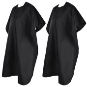 2 Pack Hair Aprons Hair Salon Nylon Capes with Sticky Closure and Tied String, About 140cm x 90cm , Black