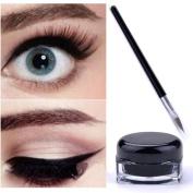 Long Lasting Waterproof Black Eye Liner Eyeliner Gel Makeup Cosmetic + Brush Set for Beauty Women