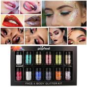 DRESS® 12Pcs Shimmer Glitter Eye Shadow Powder Palette Matte Eyeshadow Cosmetic Makeup Diamond Eyeshadow Plate