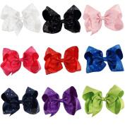 CN 20cm Big Boutique Hair Bow Little Girl Grosgrain Ribbon Hair Clip for Dance Cheerleading Girls Toddlers Teens