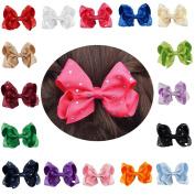 CN 10cm Boutique Rhinestone Hair Bow Grosgrain Ribbon Hair Clip for Baby Girls Kids Teens 16Pcs…