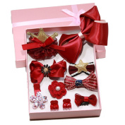 ODN 1 set 10 pcs Lovely Hairpins Girls Hair Accessories Colourful Barrettes Deep Red