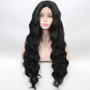 SHANDIREN Outdoor High Density Women's Natural Wave Hair Synthetic Lace Front Wigs American Heat Resistant for All Skin Women
