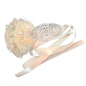MagiDeal Flapper Headband Feather Pearls Ribbon 1920s Headpiece Wedding Party Prom