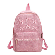 Demiawaking Girls Cute Backpack School Bags Lace Flower Bowknot Travel Rucksack Casual Book Bags Satchel Daypack for Teenager