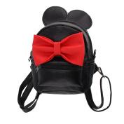 AllRight Girl Cute Cartoon Mini Mickey Backpack PU Leather Bow Mouse Rucksack Big Ear Travel School Bag Black