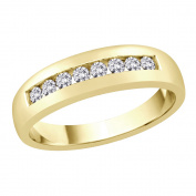 Diamond Men's Wedding Band in 14K Yellow Gold