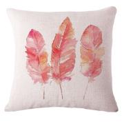 ZebraSmile Feather Digital Printing Cushion covers Cotton Linen Pillowcase Sofa Pillow Slip Pillow Sham For Car Chair Seatback Home Sofa 43cm x 43cm