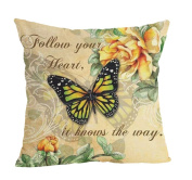 ZebraSmile Butterfly Cotton Linen Decorative Pillow Throw Pillow Cushion with Insert Square 43cm For Car Seatback Home Sofa Chair Seatback 43cm x 43cm