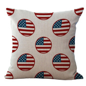 Sunyoyo Linen Cotton Decor Solid Pillow Cover US Flag Printed Sofa Cushion Cover For Sofa Home Party 45x45cm/18x18inch