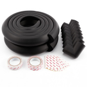 BLACK 8PCS THICK BABY SAFETY CORNERS + 4M EDGE CUSHION/DESK TABLE PROTECTION/SAFE FOR CHILD