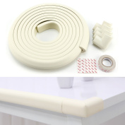 WHITE SOFT 4PCS THICK BABY SAFETY CORNERS CUSHION COVER AND 5M EDGE DESK TABLE PROTECTION STRIP SAFE FOR CHILD