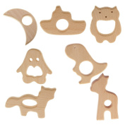 Sharplace 7PCS Cute Animal Shape Natural Wooden Ring Baby Teether Teething Toy Shower