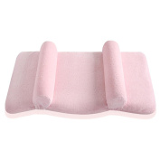 newborn baby memory foam pillow rectangle adjustable fixed tumbling head shaping 0-60 months infant sleeping . pink . one size