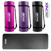 Bionix Large Padded Exercise Yoga Mat with Carry Handles - 15mm High Density 1350g Thick NBR Mats For Gymnastics Pilates Exercise Fitness Black / Purple