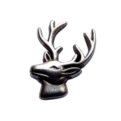 Concho Embellishment Women's Elk Head Cutout Sterling Plated Screwback With A Hand Rubbed Antique Finish