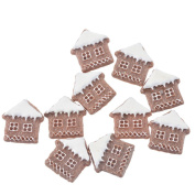 10 Pcs Brown Snow House Patches Appliques DIY Christmas Decorative Patches