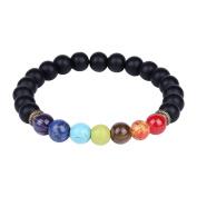 8mm 7 Chakra Stone Scrub Black Onyx Beads Buddhist Prayer Mala Beads Yoga Stretch Bracelet