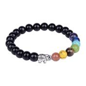 8mm 7 Chakra Stone Black Onyx Beads Buddhist Prayer Mala Beads Yoga Stretch Bracelet with Alloy Elephant
