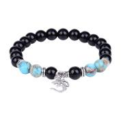 "8mm Blue Chakra Stone Black Onyx Beads Buddhist Prayer Mala Beads Yoga Stretch Bracelet with ""Ohm om""Symbol"