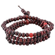 Buddha Meditation 108 Wood Beads Buddhist Prayer Mala Beads Chinese Knot Buddhist Bracelet Necklace Elastic,Maroon